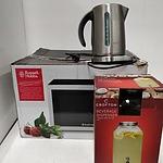Russell Hobbs Microwave, Breville Electric Kettle, Crofton Beverage Dispenser