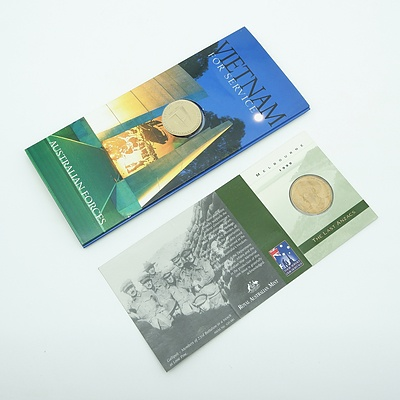 1999 $1 Coin The Last Anzacs with 'M' Mint Mark and 2003 $1 Coin Australian Forces Vietnam For Service