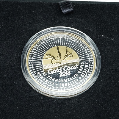 2018 Gold Coast Games $5 Fine Silver Gold Plated Proof Coin