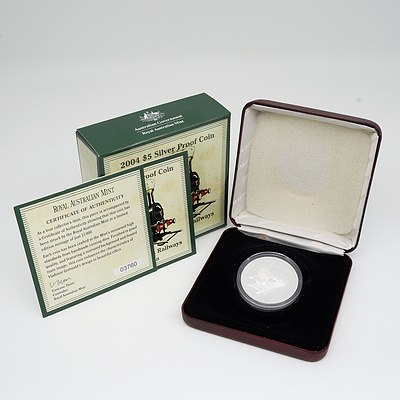 2004 $5 Silver Proof 150 Years of Steam Railways in Australia