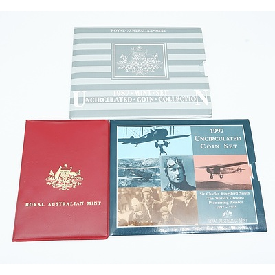 RAM 1987 Uncirculated Coin Set, RAM 1976 Coin Set and RAM 1997 The World's Greatest Pioneering Aviator Uncirculated Coin Set