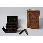 A Tin Cash Box, a Cut Throat Razor and an Antique Book from the Society for Promoting Christian Values