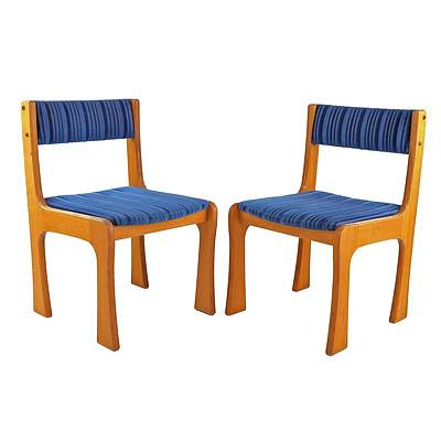 Pair of Australian Local Robert Lindsay Retro Blue Fabric Upholstered Chairs