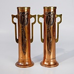 Pair Art Nouveau Copper Mantle Vases with Brass Handles