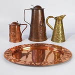 Four Art Nouveau Copper and Brass Items by Joseph Sankey and Sons, London,