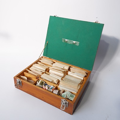 Large Collection of Australian Pre Decimal and Decimal Stamps in a Bespoke Box, Including Various Stamp Bundles