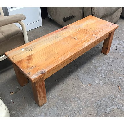 Short Rectangular Wooden Coffee Table