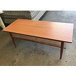Retro Coffee Table with Rattan Shelf