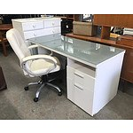 White Desk with Glass Top & White Leather Computer Chair