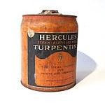 Vintage Five Gallon Hercules Steam-Distilled Wood Turpentine Drum Made in USA