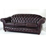 Good Quality Burgundy Leather Upholstered Chesterfield Three Seater Lounge