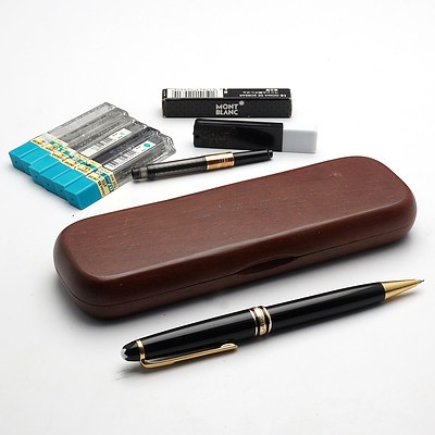 Montblanc Meisterstuck Mechanical Pencil, Mahogany Pen Case and Various Accessories