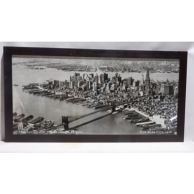 Large Offset Print of New York City, 1928 in Wooden Frame
