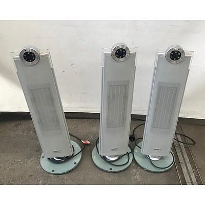 Three ARLEC CEH518 2400W Ceramic Oscillating Fan Heaters