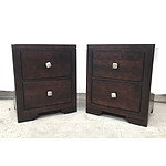 Pair of Dark Timber Bedside Drawers