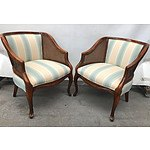 Pair of Walnut With Blue Stripe Upholstered Armchairs