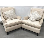 Pair of White & Beige Arm Chairs