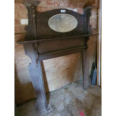 Lot 166 - Antique Timber Mantle Piece with Mirror