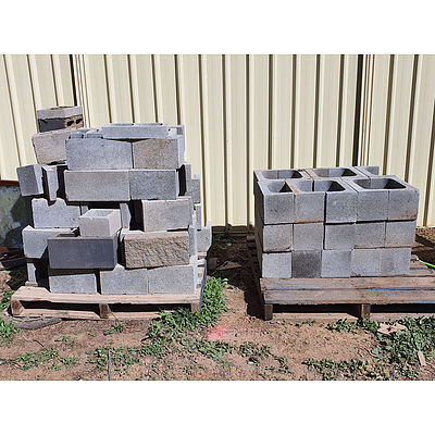Lot 206 - Assorted Concrete Blocks - 2 Pallets