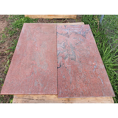Lot 68 - Mega Red Java Marble Slabs - Lot of 2