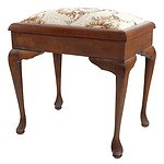 Floral Fabric Upholstered Piano Stool with Cabriole Legs
