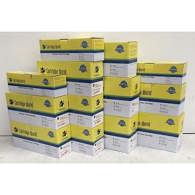 Bulk Lot of Assorted CartridgeWorld Toner Cartridges