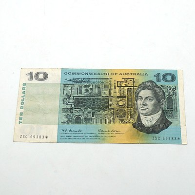 Scarce Commonwealth of Australia $10 Star Note, Coombs/ Wilson ZSC69383*