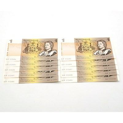 Ten Consecutively Numbered Australian Johnston/ Stone $1 Notes, DJF512480-DJF512489