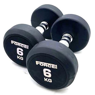 Pair of 6kg Force USA Commercial Round Rubber Dumbbell - Brand New - Total RRP $66
