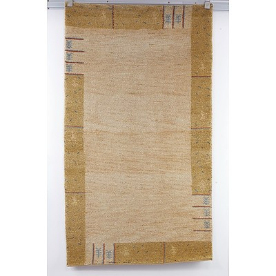 Thick Pile Heavy Weight Hand Knotted Persian Gabbeh Rug in Camel Tones