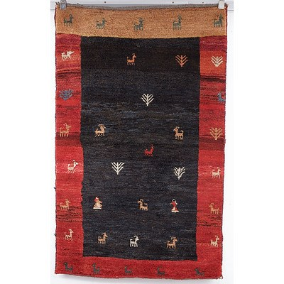 Thick Pile Heavy Weight Hand Knotted Persian Gabbeh 'Animal' Rug