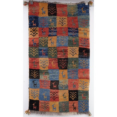 Thick Pile Heavy Weight Hand Knotted Persian Gabbeh Rug with Geometric 'Animal' Pattern