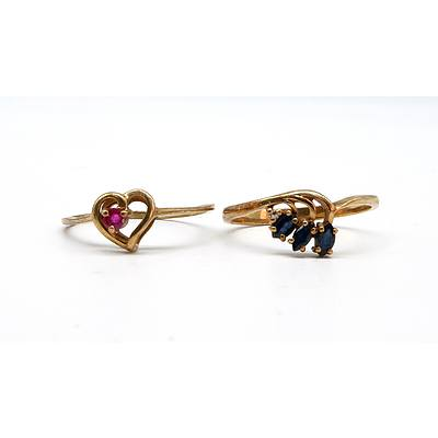 9ct Yellow Gold Rings, Ruby and Sapphire, 3g