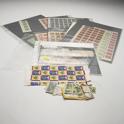 Quantity of 17 Chinese, Japanese Stamp Blocks and Quantity of Australian Loose Stamps