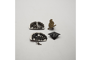 Quantity of Four Australian Military Insignia Including 48th Battalion Collar, Lewis Gunner and More