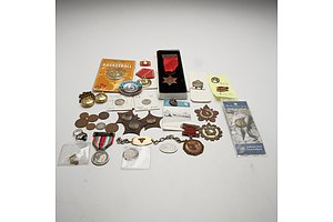 Various Medals, Coins and Tokens, Including Australian Sterling Silver Bracelet, Coca Cola Badge and More