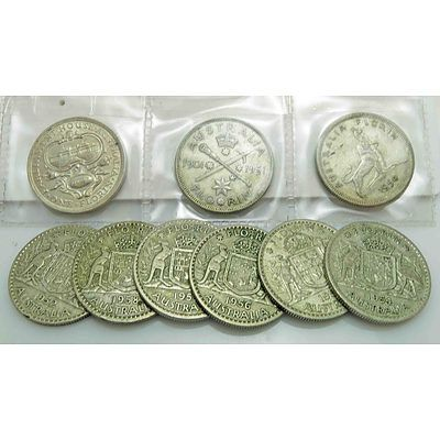 Collection Of Australian Silver Florins Incl Commemoratives