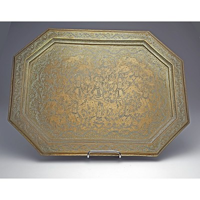 Antique Indo Persian Engraved Brass Tray