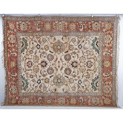 Large Indian Agra Hand Knotted Wool Pile Carpet