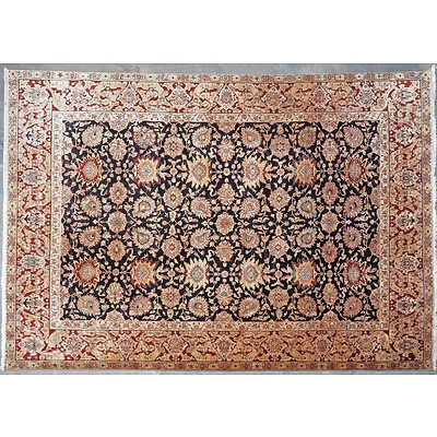 Large Persian Isfahan Hand Knotted Wool Pile Carpet with a Dark Royal Blue Ground