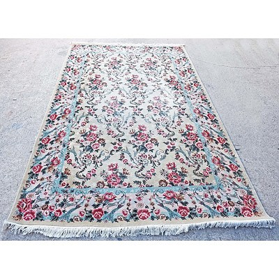 Large Persian Qum Finely Hand Knotted Wool Pile Flower Pattern Rug with an Ivory Ground