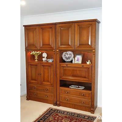 Pair of Dutch Solid Oak Classic Style Modular Cabinets