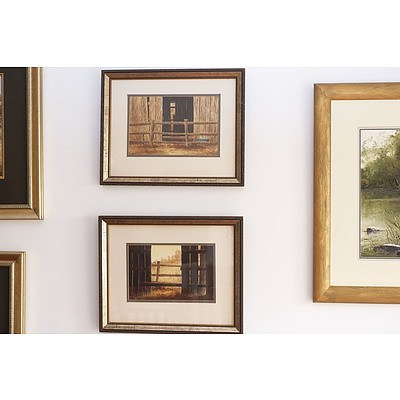 Kevin Maguire (Active 1970s/80s) Two Artworks Dated 1978, Barn Scenes, Watercolour and Gouache on Paper