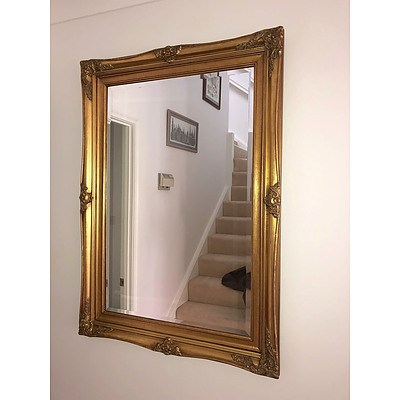 Antique Style Gilded Moulded Gesso Framed Mirror with Bevelled Edge