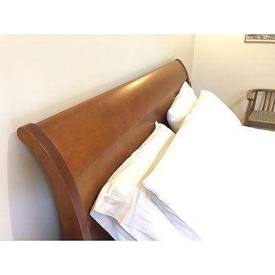 Contemporary Queen Size Solid Ash Sleigh Bed