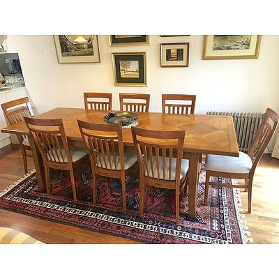 Set of Eight 'Diamond Creek Furniture Collection' Solid Ash Provencal Style Slat Back Dining Chairs ONLY