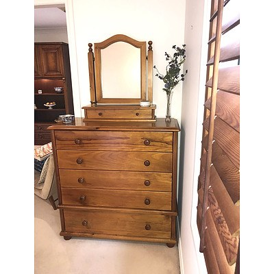 Contemporary Classic Style Polished Pine Dressing Chest with Separate Toilet Mirror