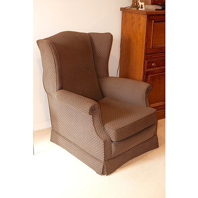 Contemporary Classic Style Wingback Armchair Recently Upholstered