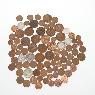 Bag of Various Pennies, Florins, Two Cent Coins, Shillings and More, Including 1927 Canberra Florin