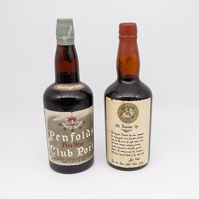 One Bottle of 1945 Penfolds Five Star Club Port and One Bottle of Old Dolcetto 1939 Tawny Port